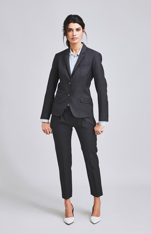 RESOLUTE CLASSICALLY TAILORED CROPPED WOOL SILK TROUSER CHARCOAL