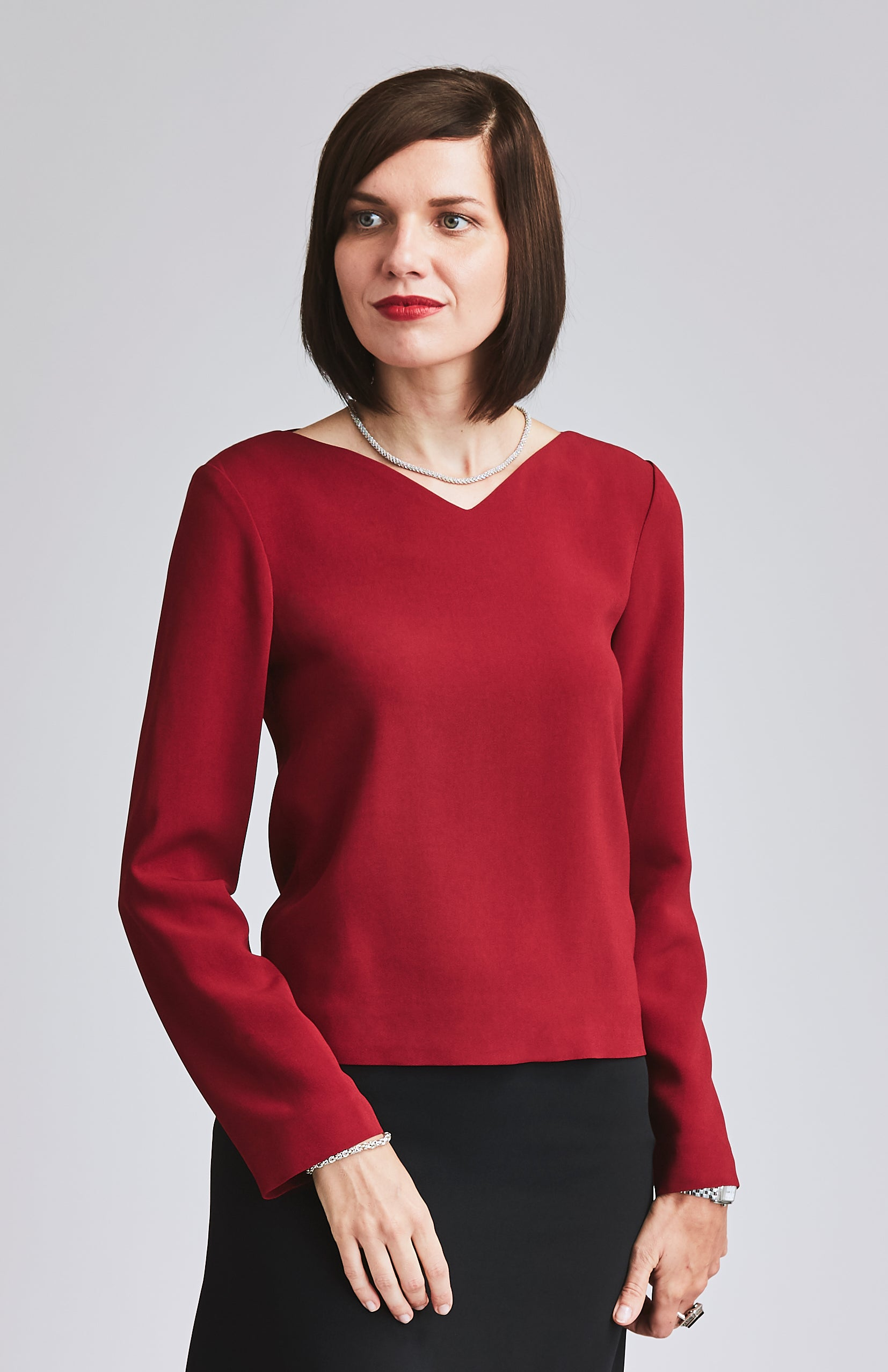 DARING LONG SLEEVE CURVE NECKLINE TOP RED