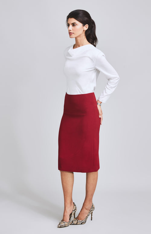 DARING A-LINE MIDI SKIRT RED
