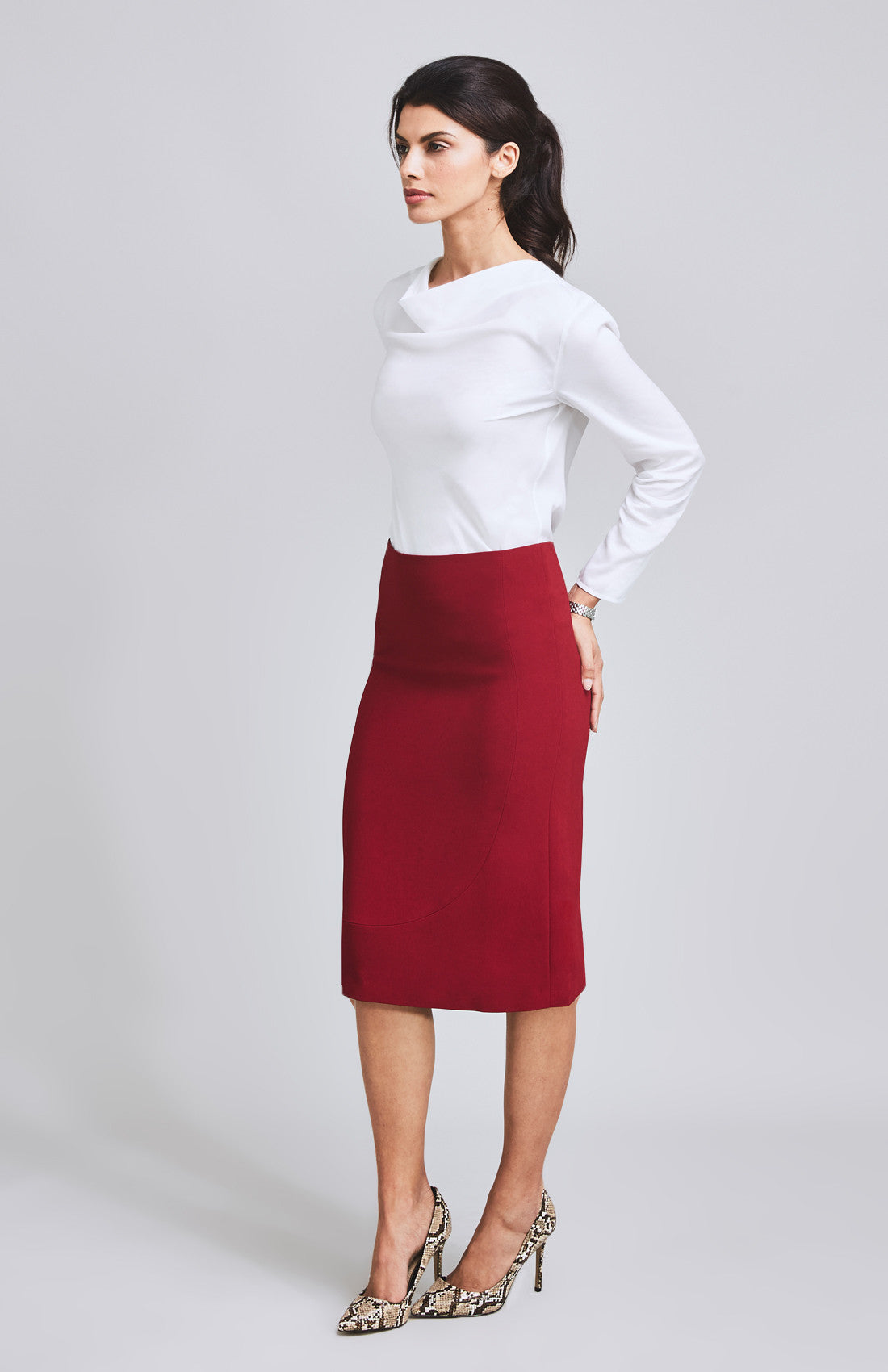 Red mid rise A-line midi skirt