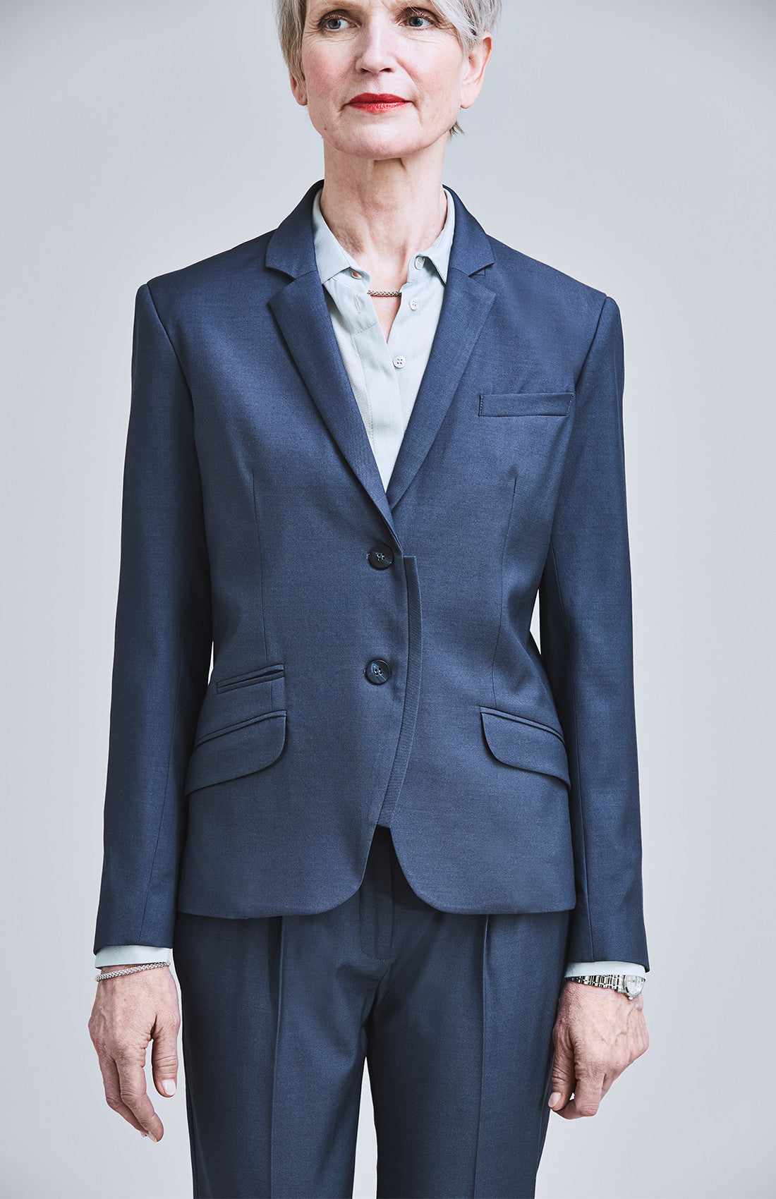 Women's luxury Savile Row style tailored suit jacket for the office blue