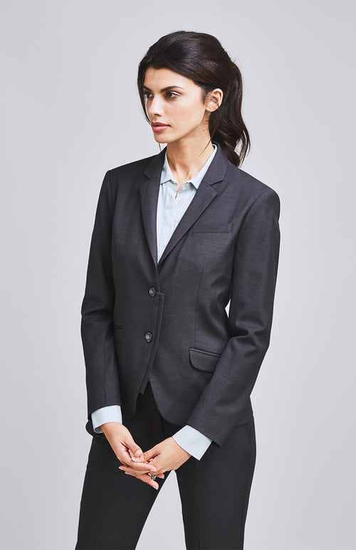 RESOLUTE CLASSICALLY TAILORED WOOL SILK JACKET CHARCOAL