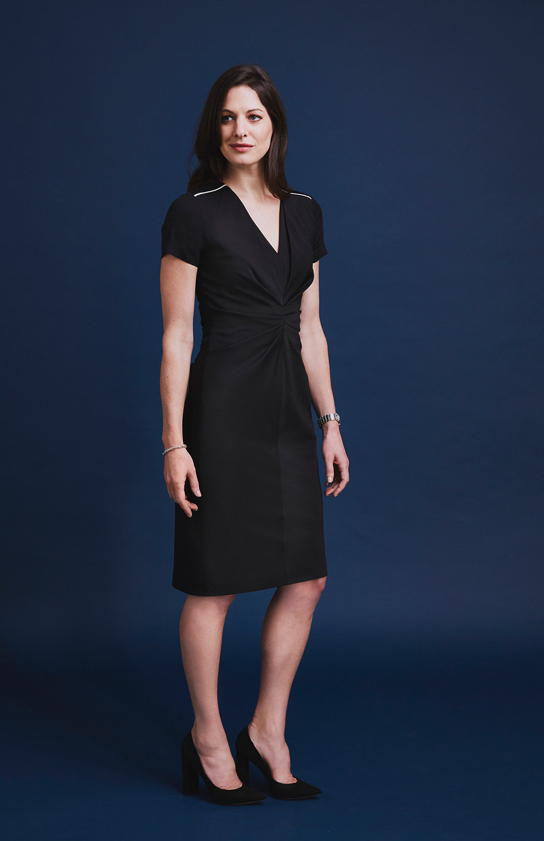 Luxury v-neck ruched and textured short sleeve knee length office dress for work black monochrome