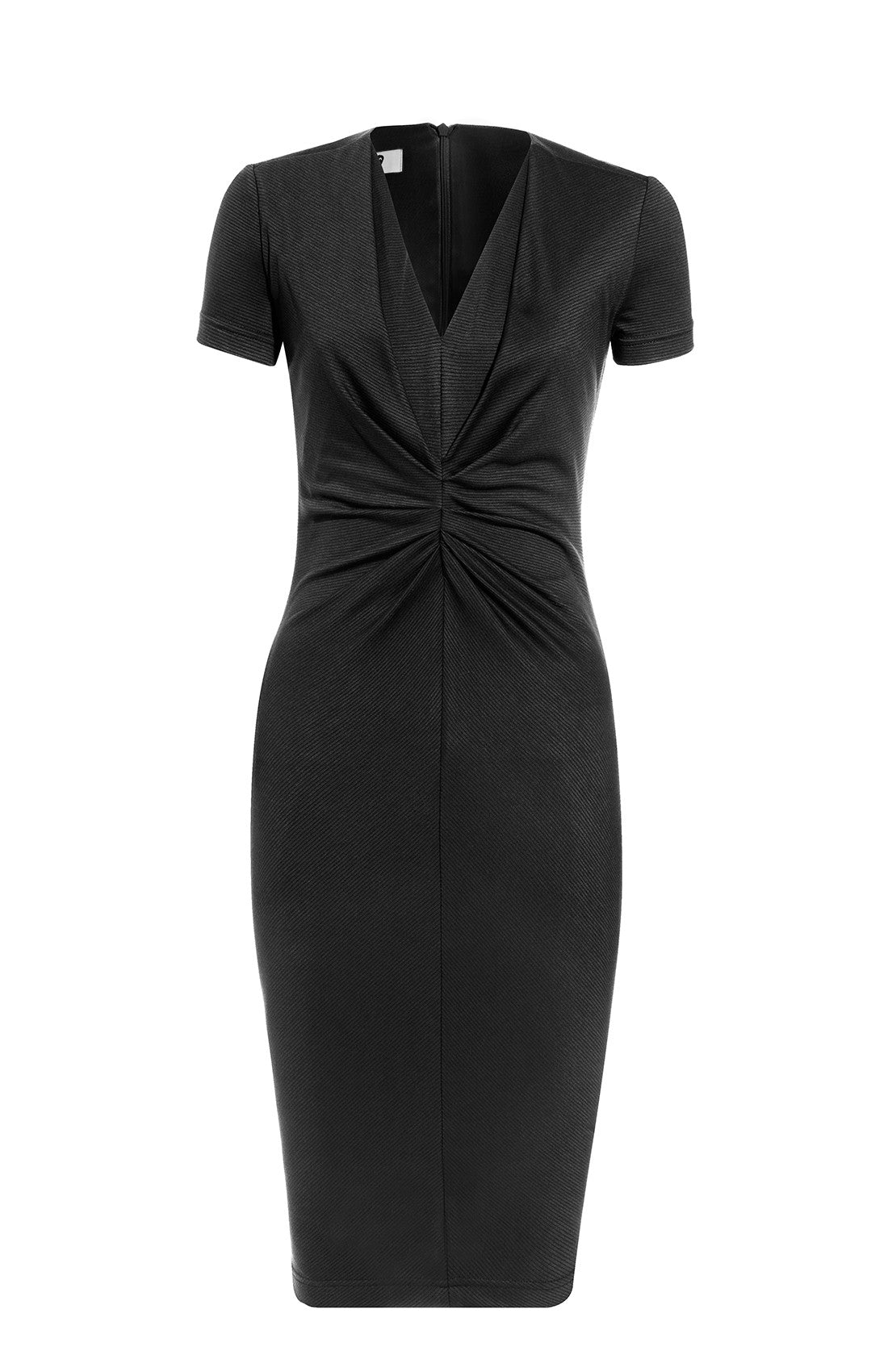 V-neck ruched and textured short sleeve jersey knee length office dress for work black