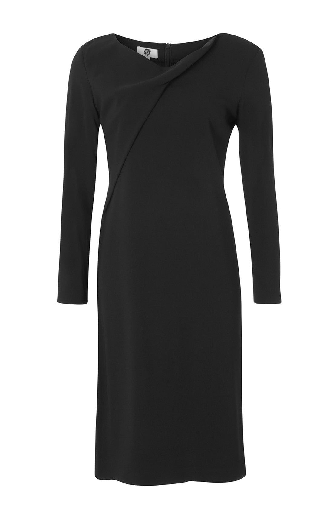 Long sleeve knee length office shift dress for work with twist neckline black