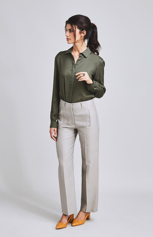 STEADFAST WIDE LEG TEXTURED COTTON/SILK TROUSER FAWN