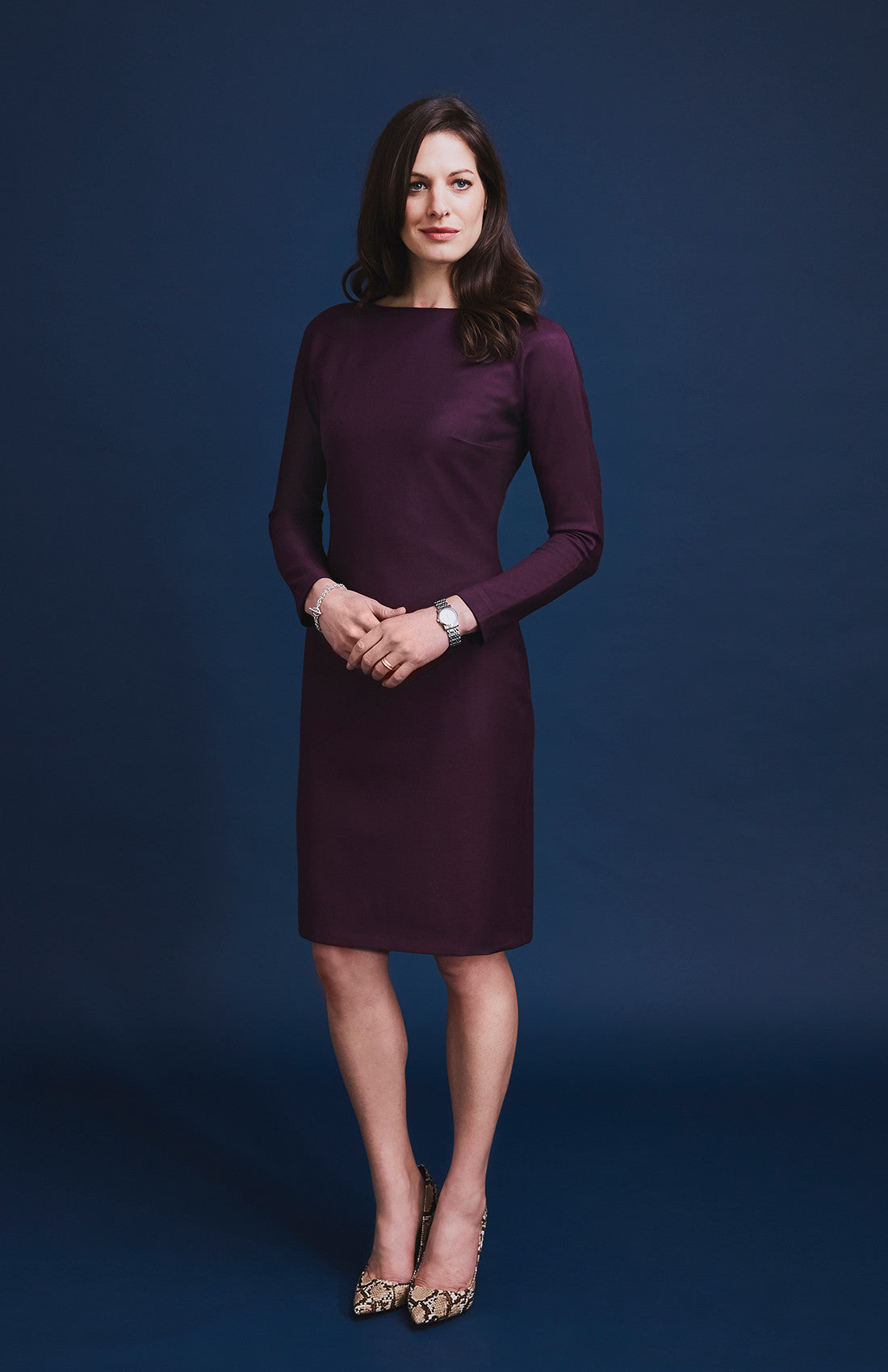 Burgundy flattering slim-fitting long sleeve knee length office dress for work