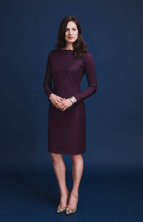 RESILIENT DIAGONAL PANEL DRESS BURGUNDY