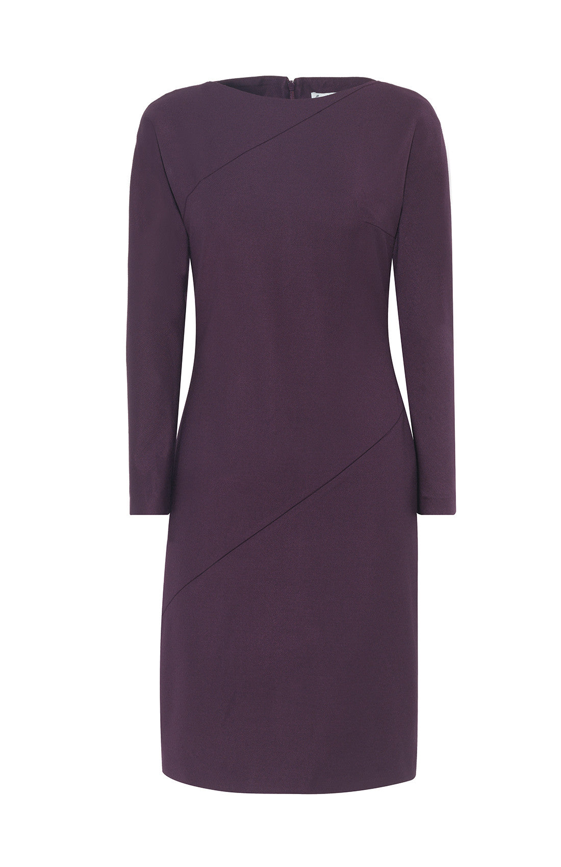 Purple flattering slim-fitting long sleeve knee length office dress for work