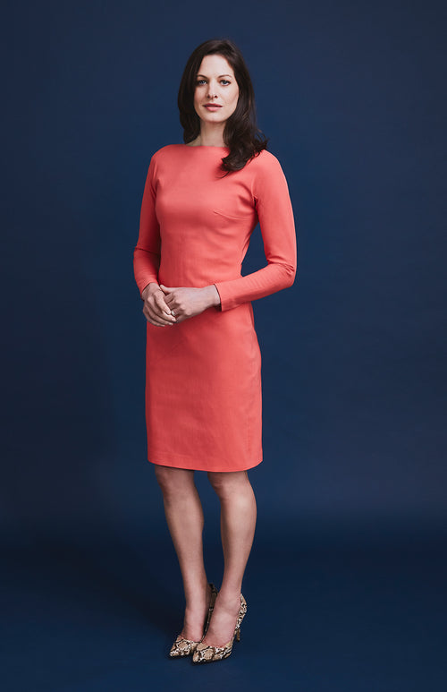 RESILIENT DIAGONAL PANEL DRESS CORAL