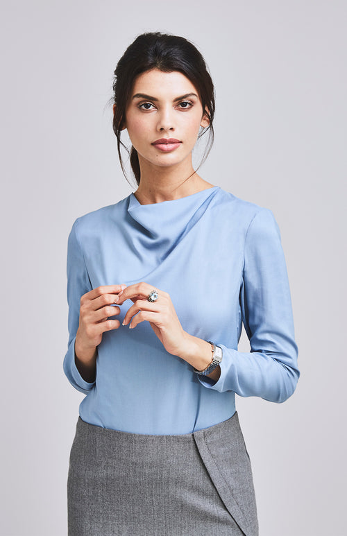 EQUAL COWL NECK TOP BLUE