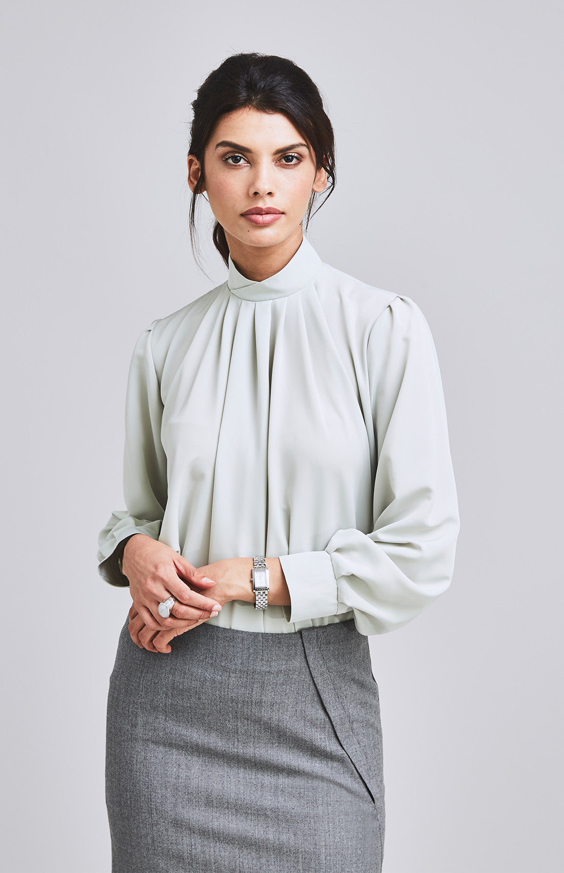 High neck drape top with balloon sleeves for work light green