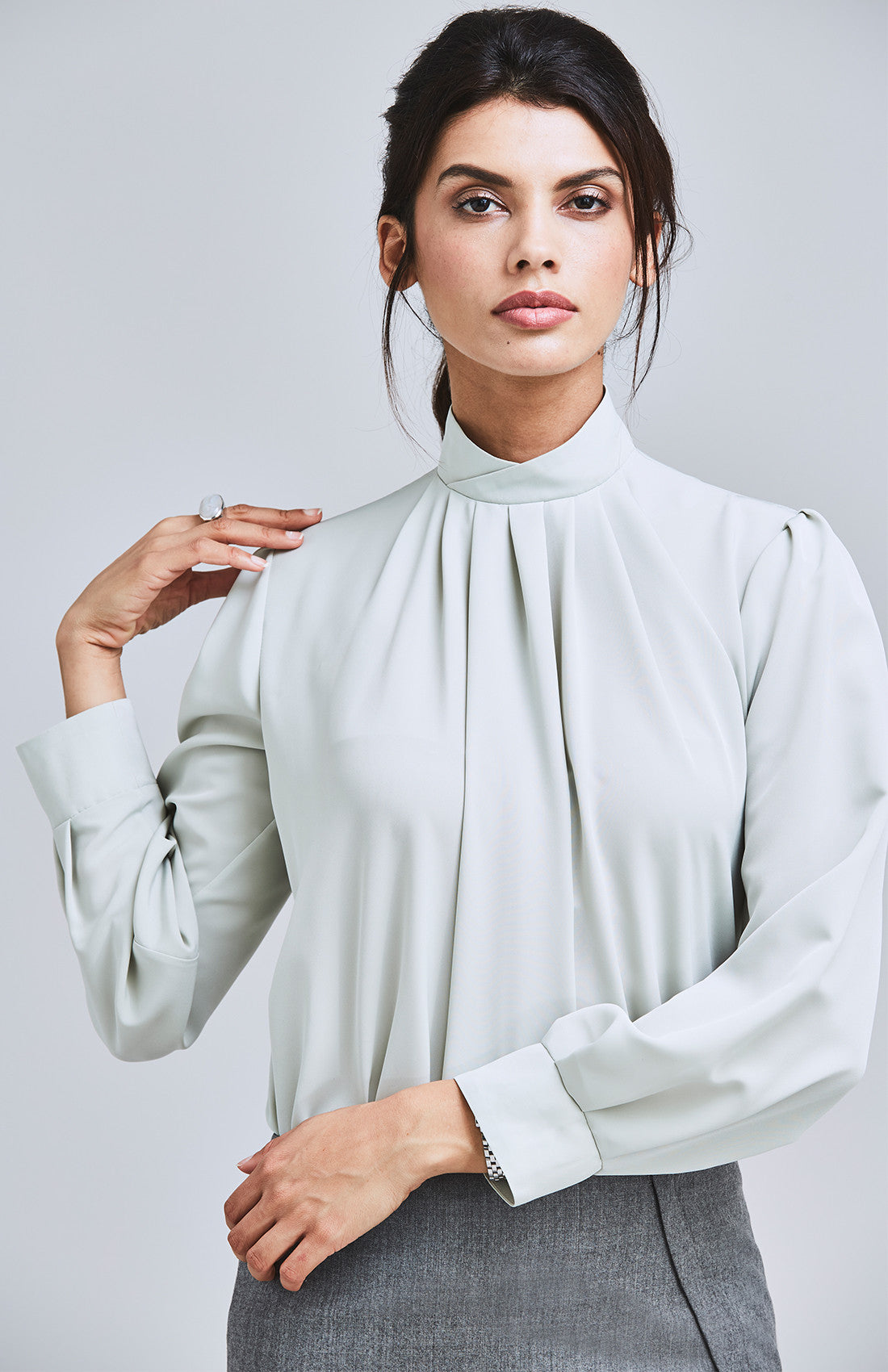 High neck drape top with full sleeves for work light green