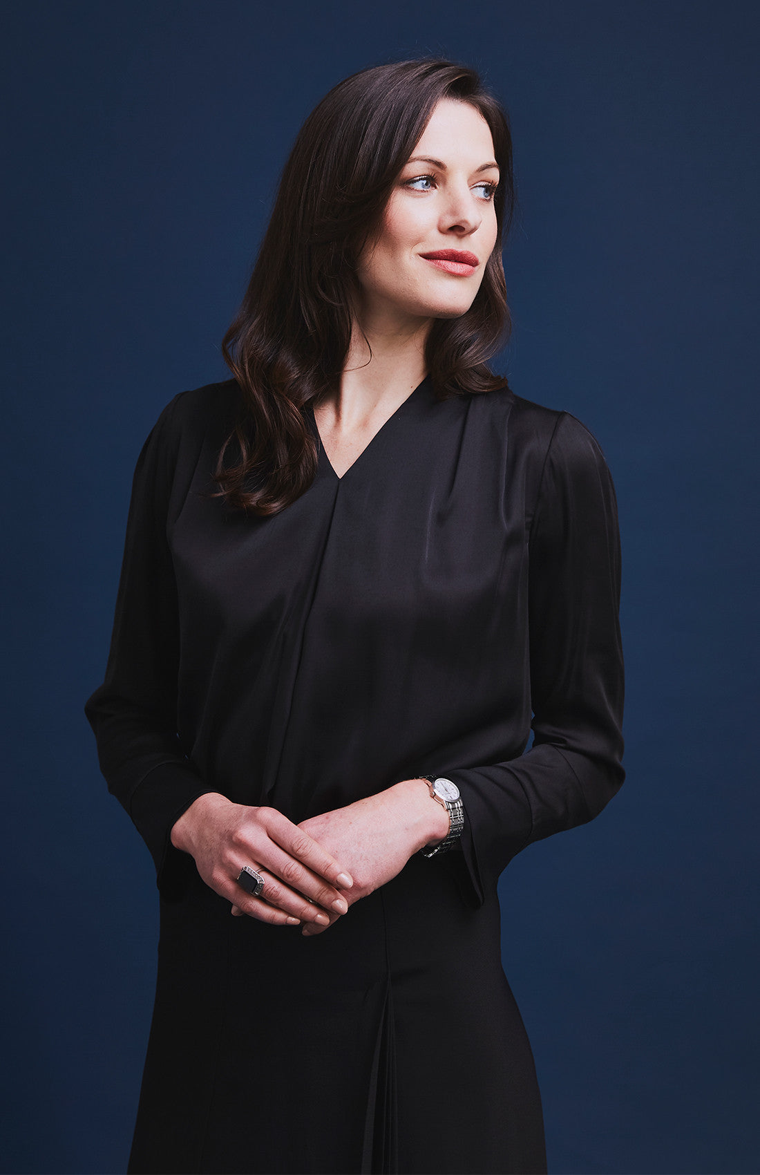 Black v-neck satin blouse for the office
