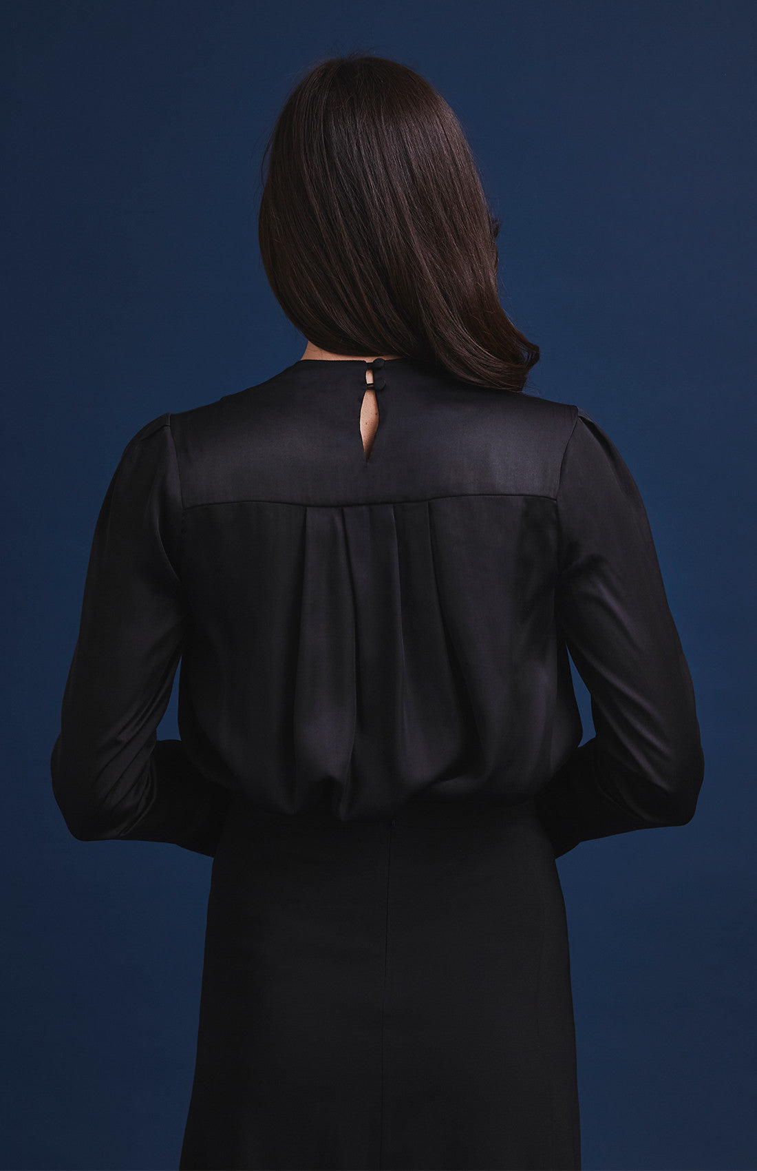 V-neck satin drape blouse with double cuffs for work black