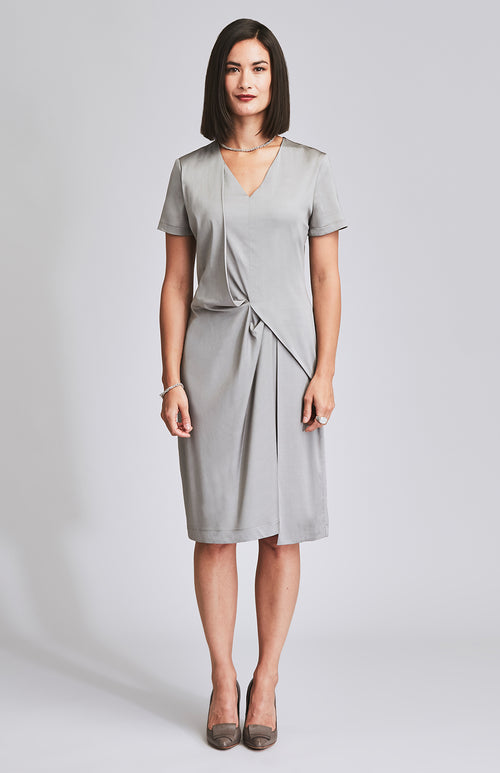 COMPOSED DRAPE OFFICE DRESS MINK GREY