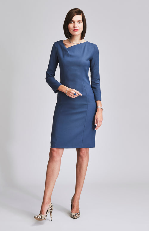 HEROIC TWIST NECKLINE DRESS BLUE