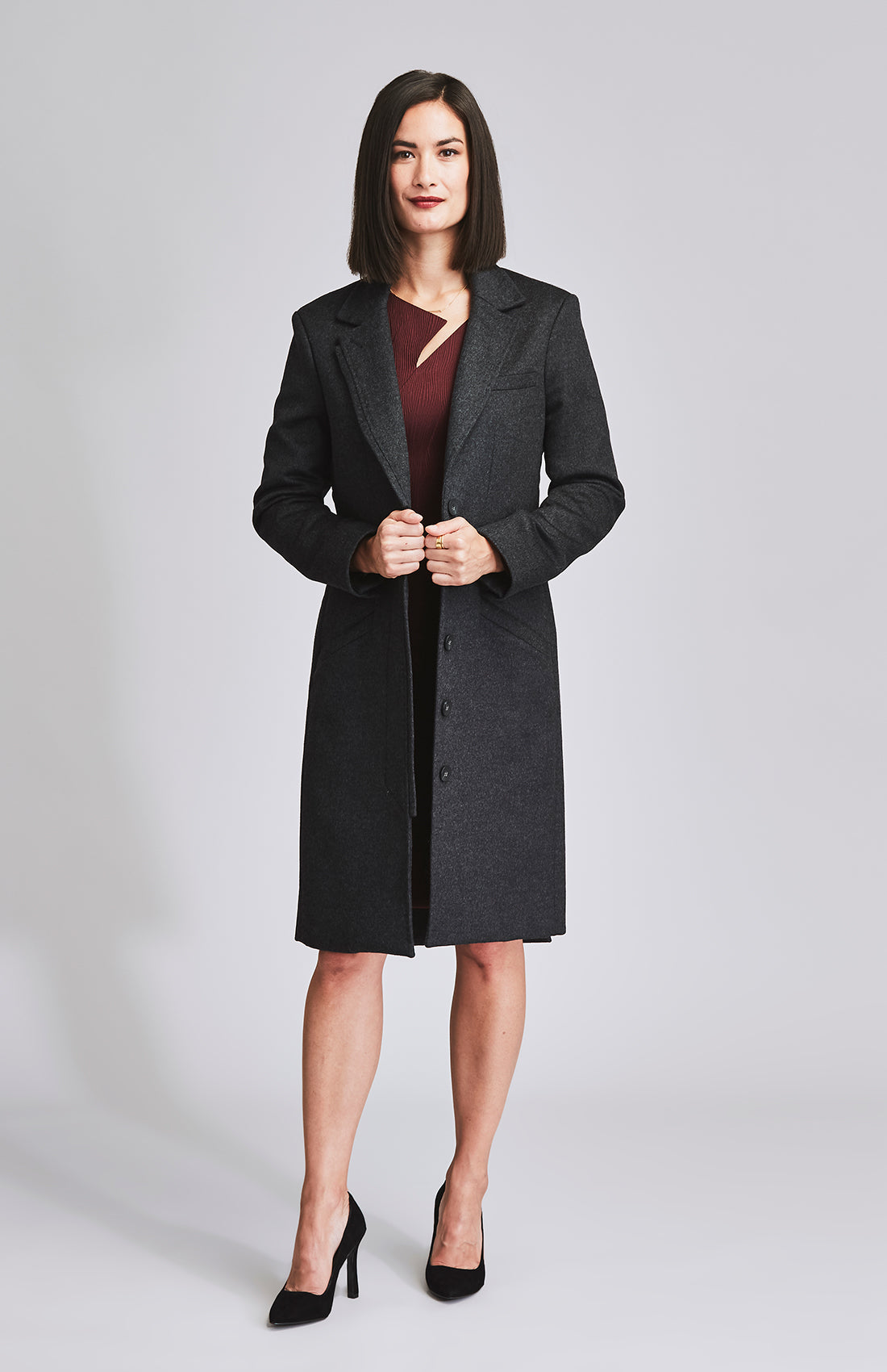 INDOMITABLE TAILORED WOOL COAT CHARCOAL