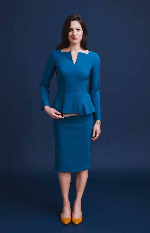 CONFIDENT TAILORED PEPLUM OFFICE DRESS TEAL
