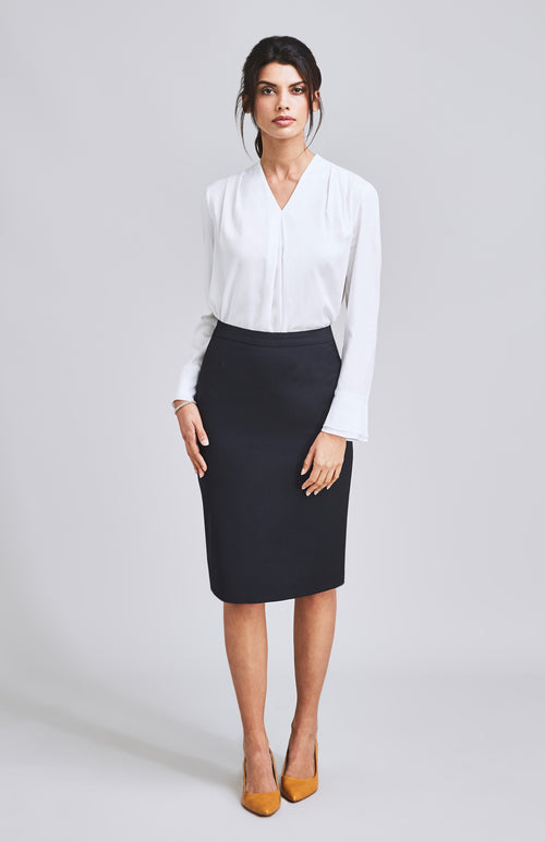 CONFIDENT TAILORED PENCIL SKIRT DARK NAVY