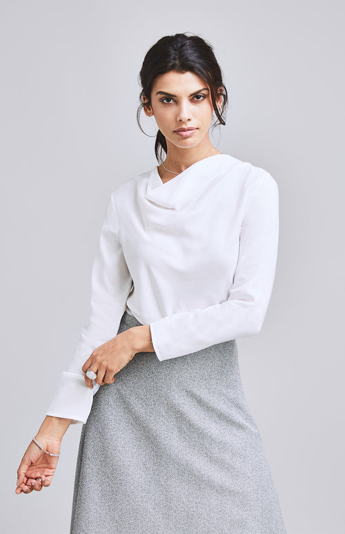EQUAL COWL NECK TOP WHITE