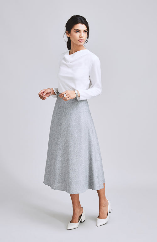 INTREPID FLARE MIDI SKIRT LIGHT GREY STRIPE