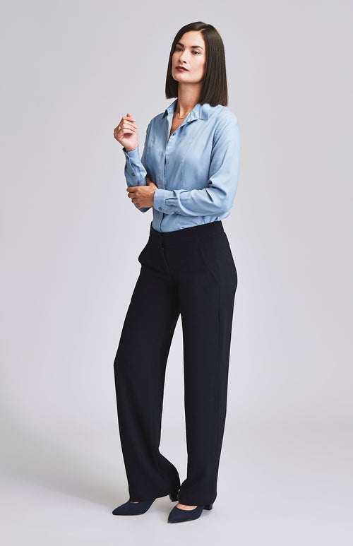 KNOWING WIDE LEG CREPE TROUSER NAVY