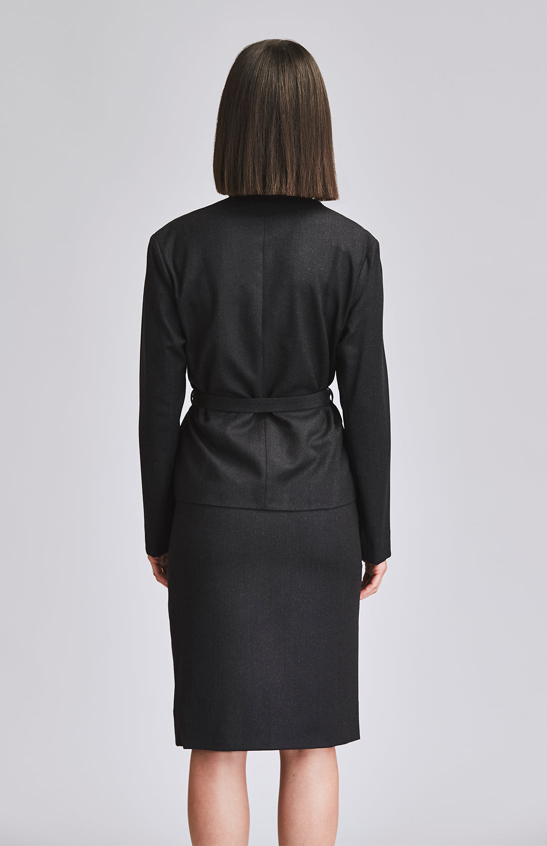 WORTHY WRAP JACKET WITH BELT CHARCOAL