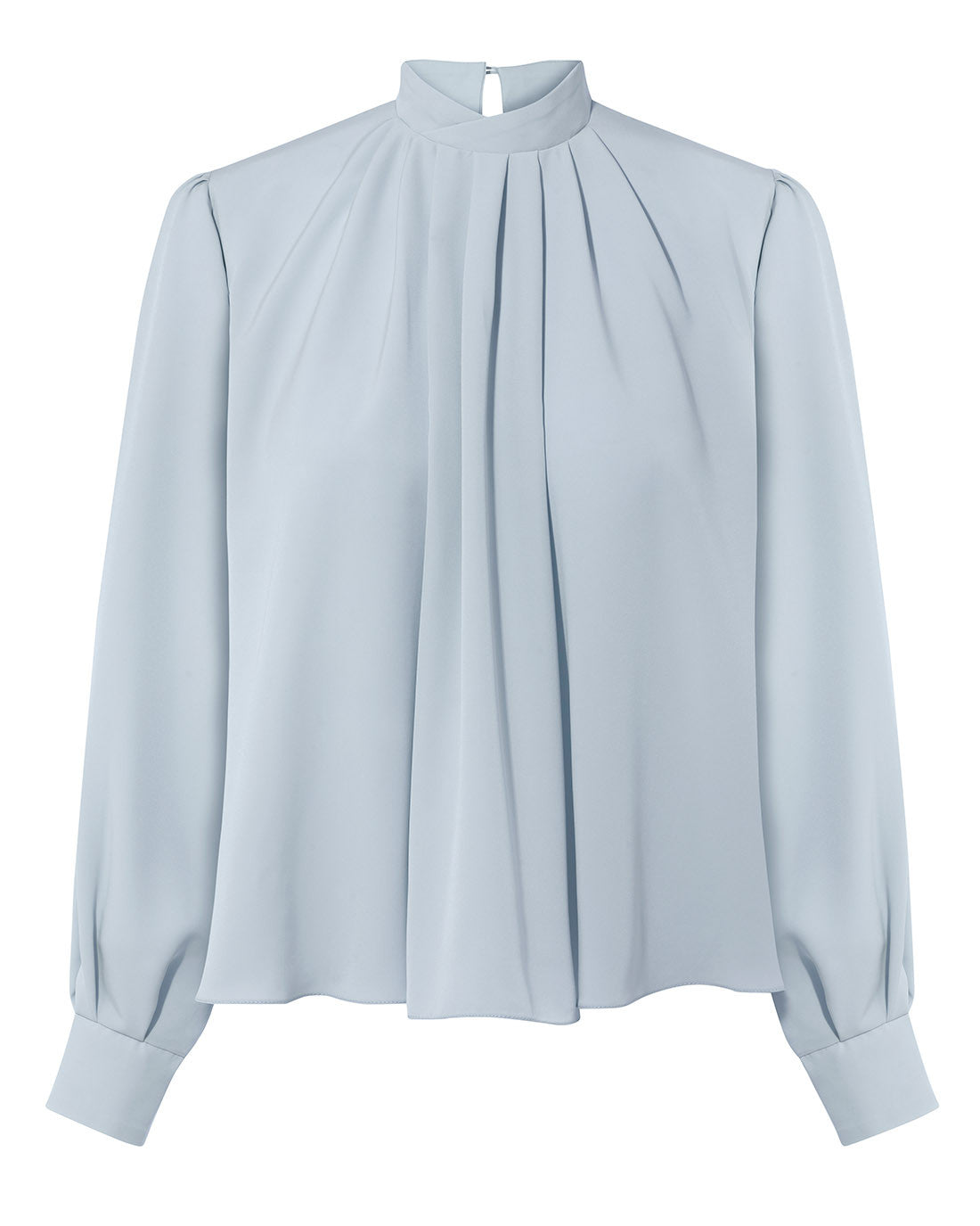 DETERMINED EDWARDIAN COLLAR DRAPE BLOUSE ICE BLUE