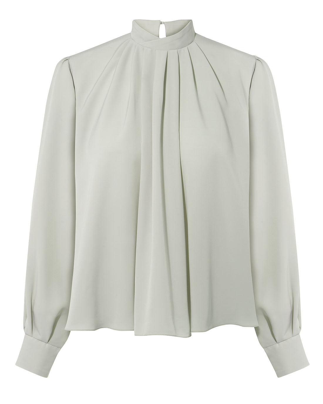 Edwardian collar high neck smart office blouse with full sleeves for work pale green