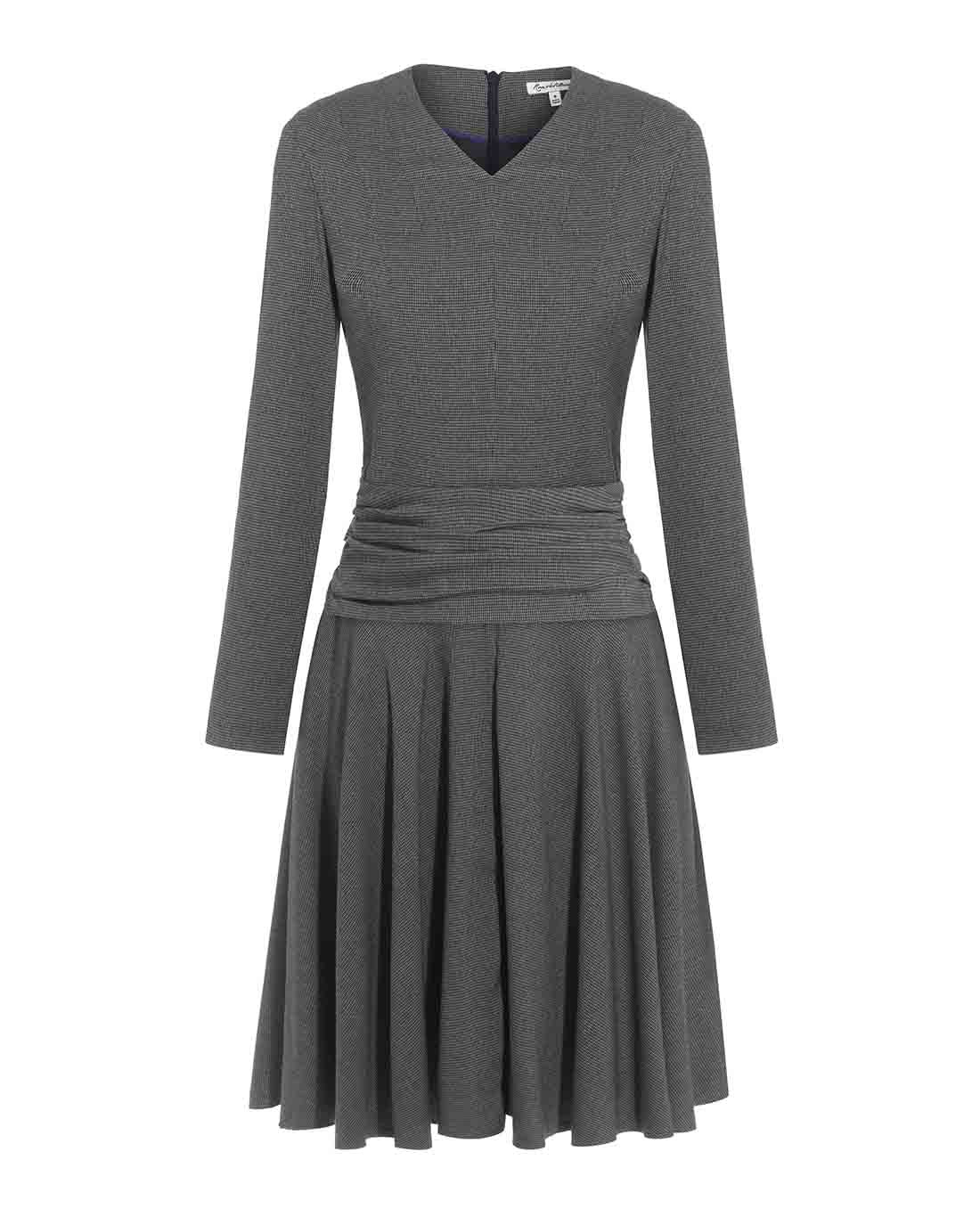 Herringbone flattering fit and flare office dress for work