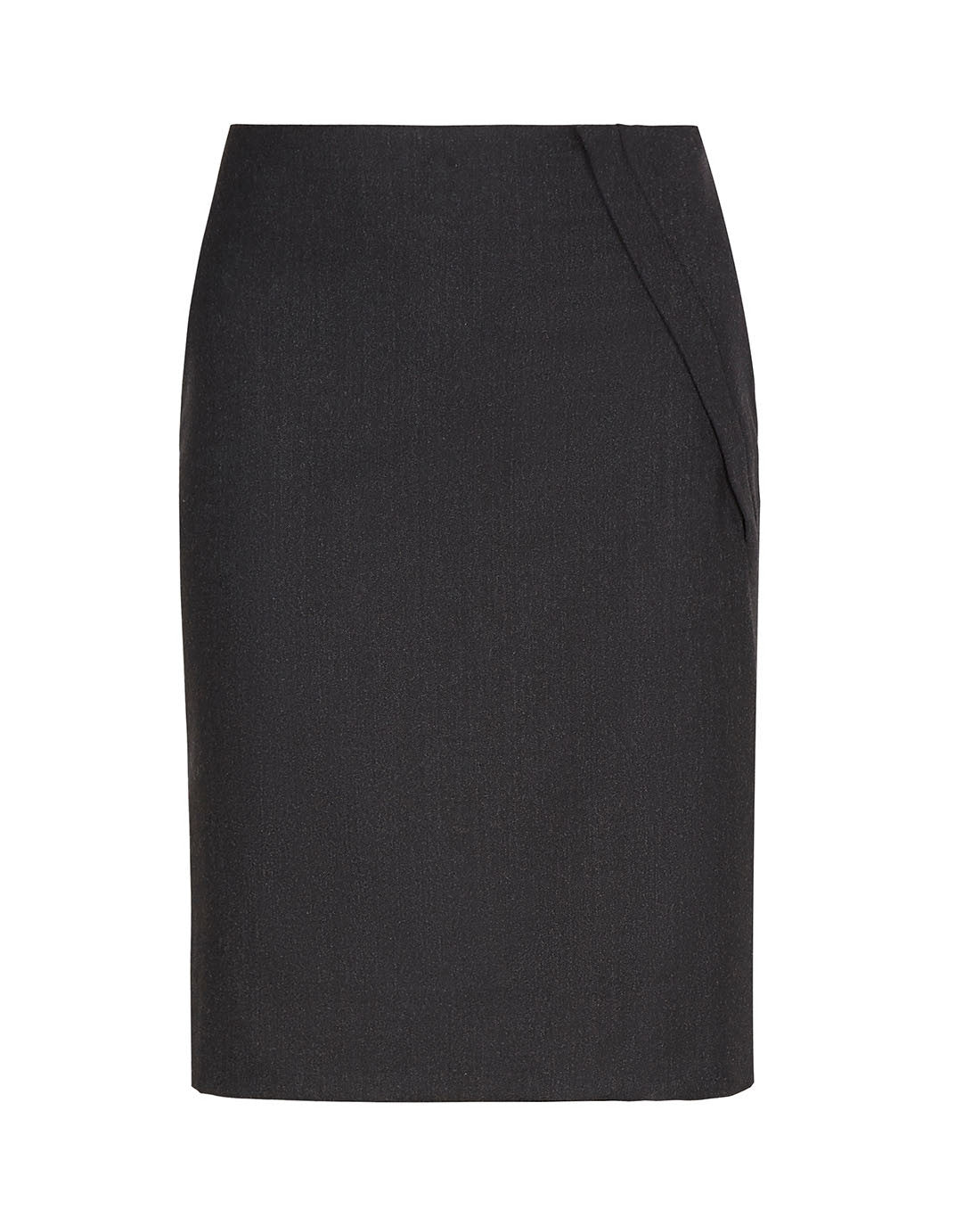 Luxury wool side split knee length pencil skirt for the office charcoal