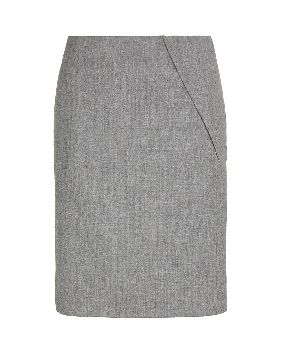 Luxury wool side split knee length pencil skirt for the office grey