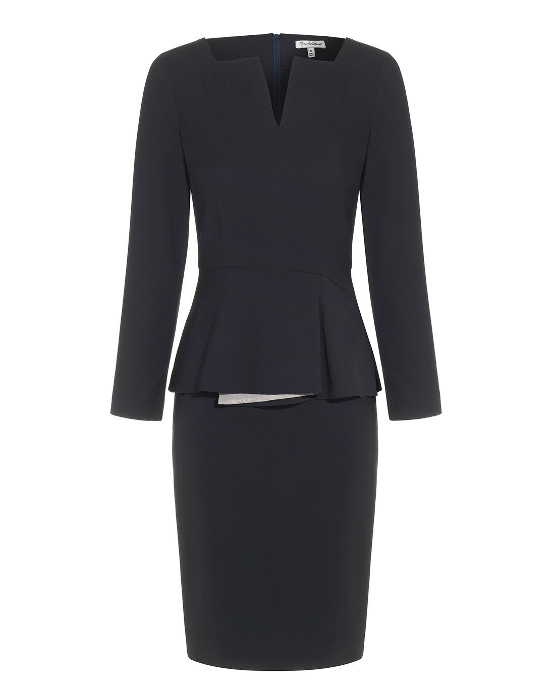Fitted below the knee peplum smart dress for work navy