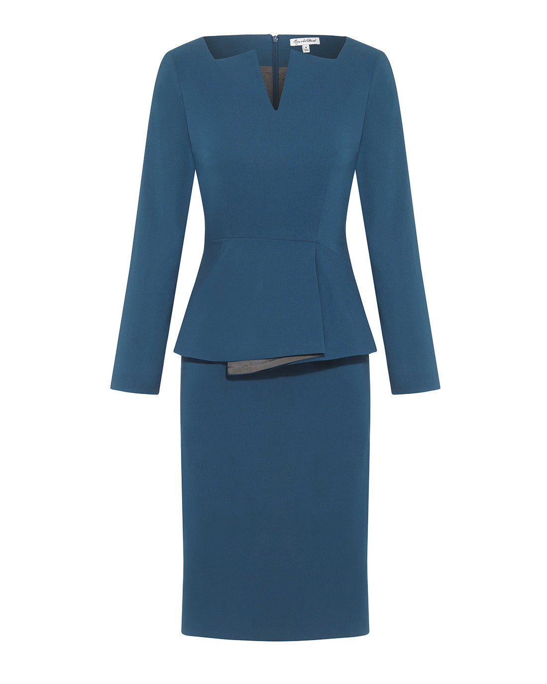 Fitted below the knee peplum smart dress for work turquoise