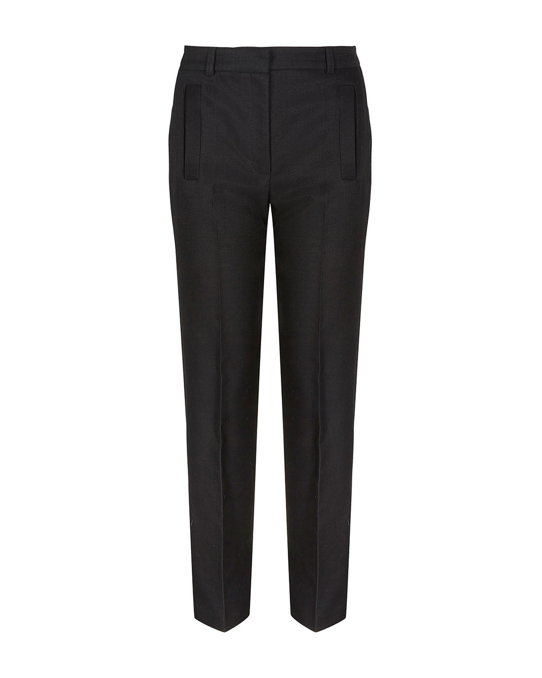 Luxury textured high rise wide leg wool silk trouser for the office black