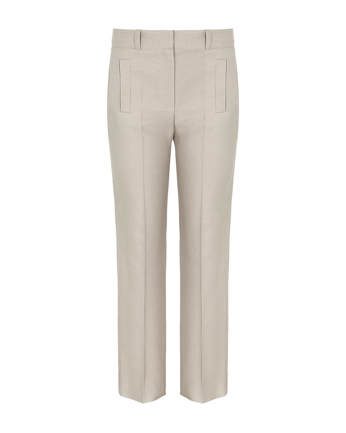 Luxury textured high rise wide leg wool silk work trouser for work beige