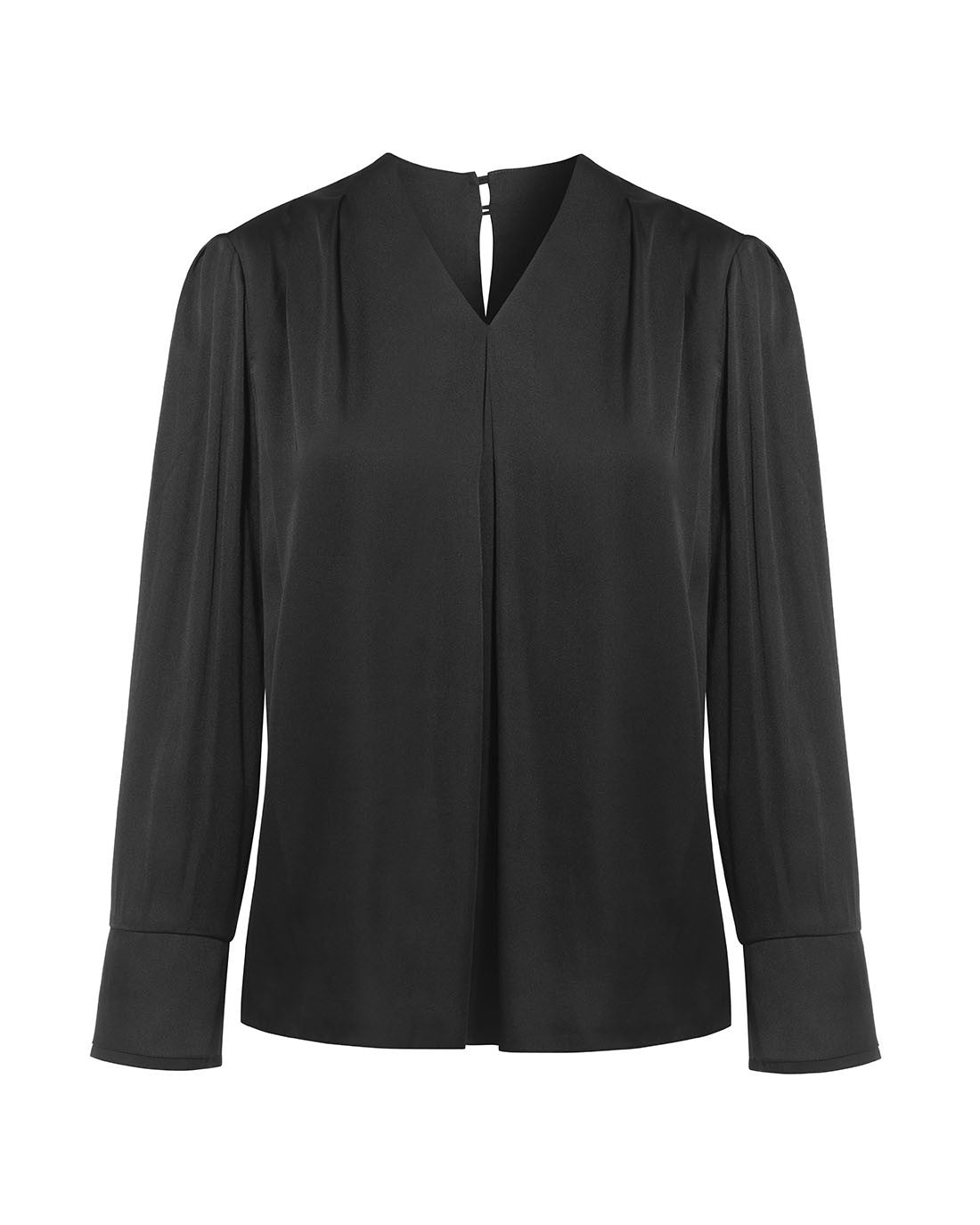 V-neck satin office blouse with double cuffs for work black