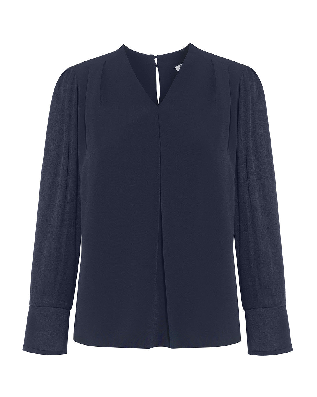 V-neck satin drape blouse with double cuffs for work navy