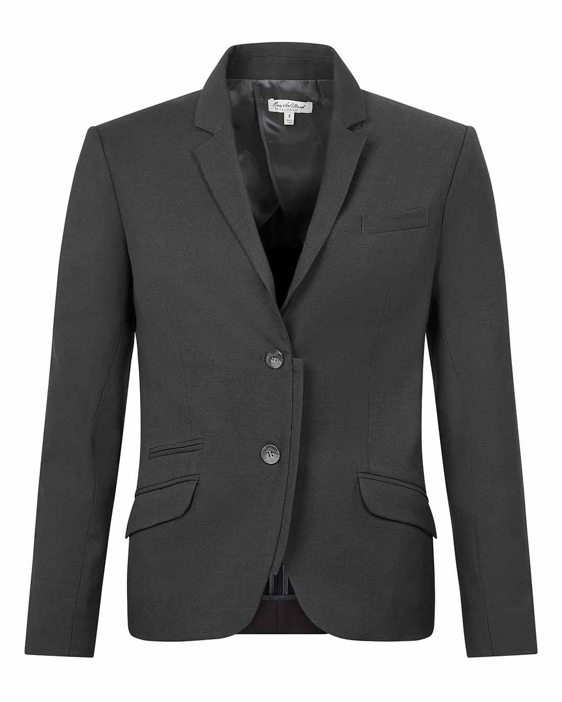 Women's luxury Savile Row style tailored suit jacket for the office dark grey