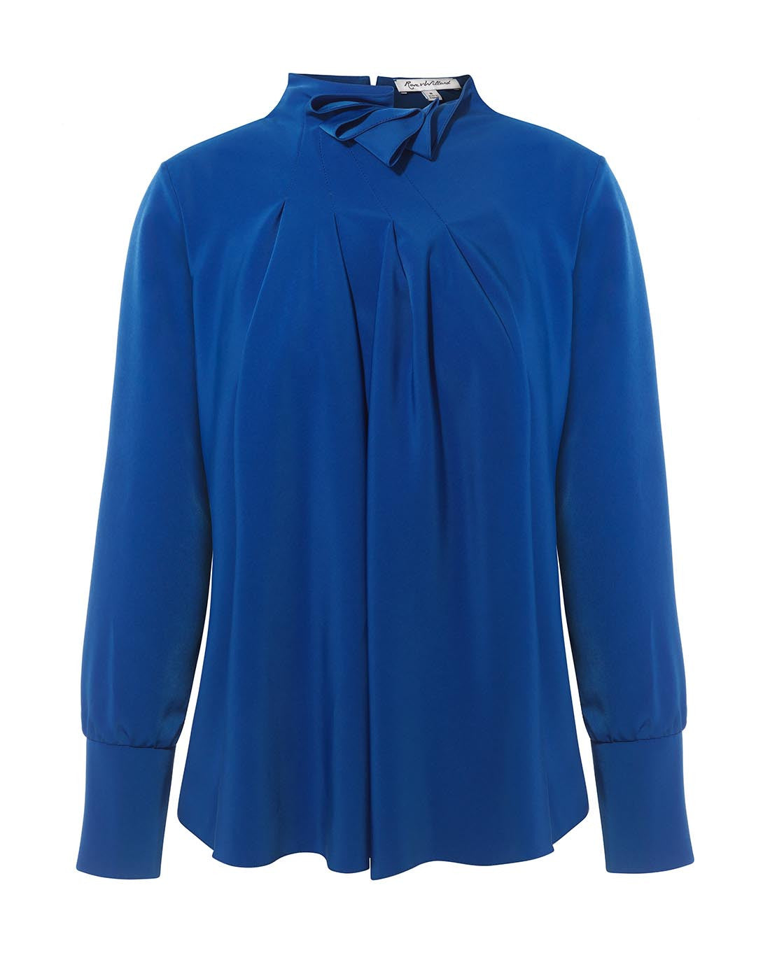 FEISTY RUFFLE NECK DRAPE BLOUSE COBALT BLUE