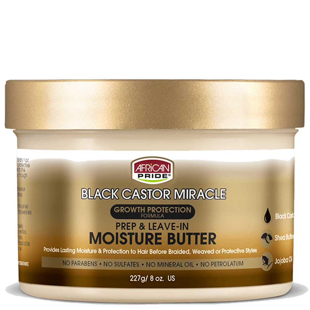 AFRICAN PRIDE BLACK CASTOR MIRACLE PREP & LEAVE-IN MOISTURE BUTTER 227G