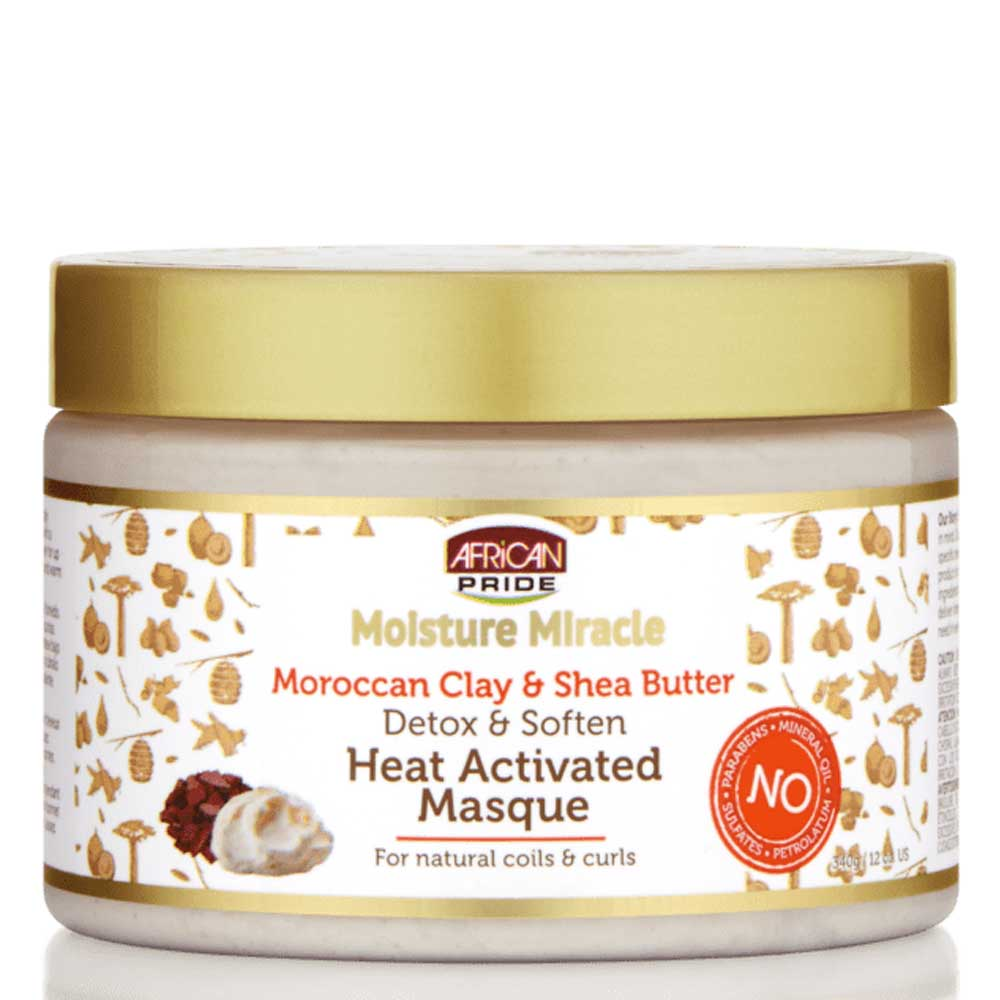 AFRICAN PRIDE MOISTURE MIRACLE MOROCCAN CLAY & SHEA BUTTER MASQUE 340G