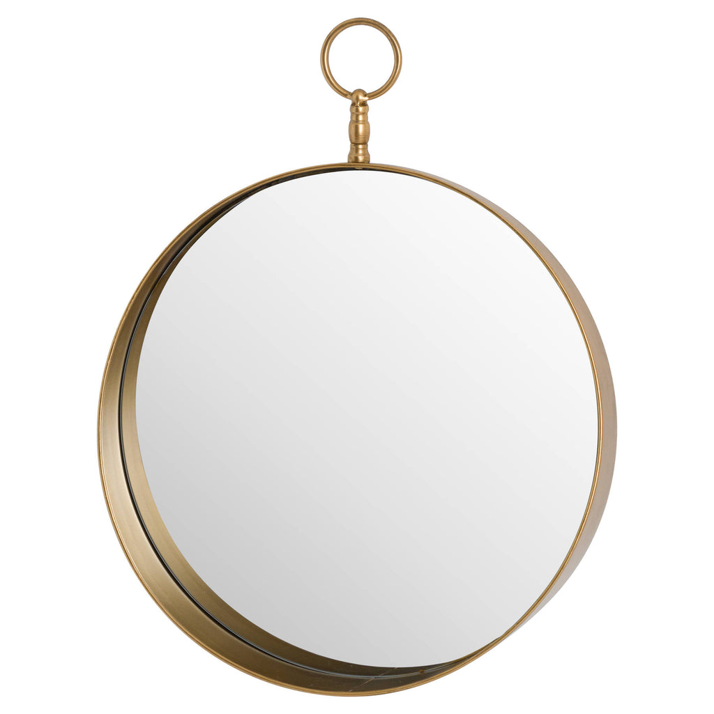 Antique Gold Circular Mirror With Loop