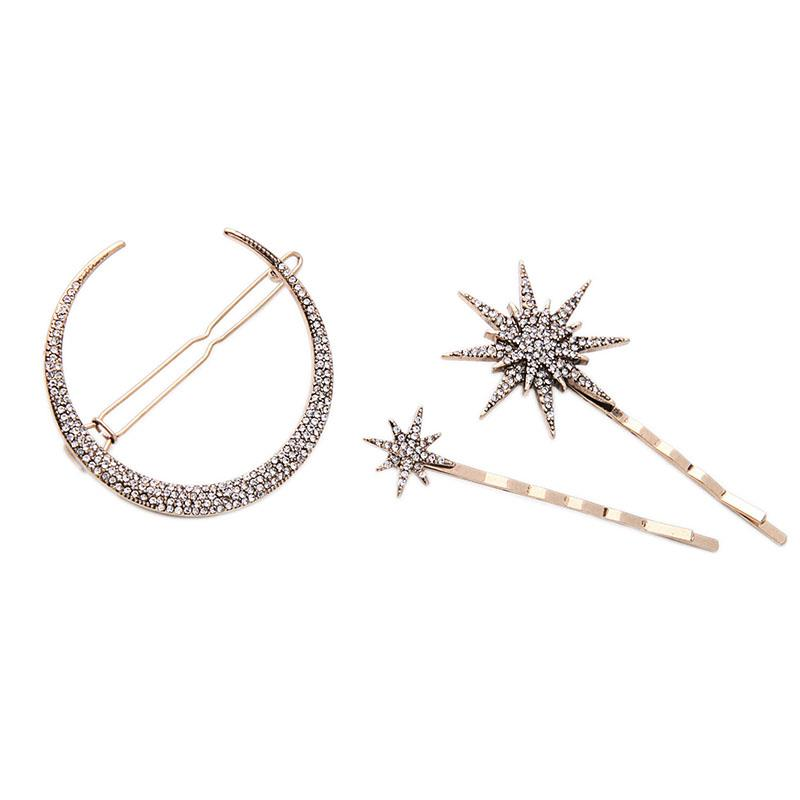 Moon and Stars Triple Hair Clip Set