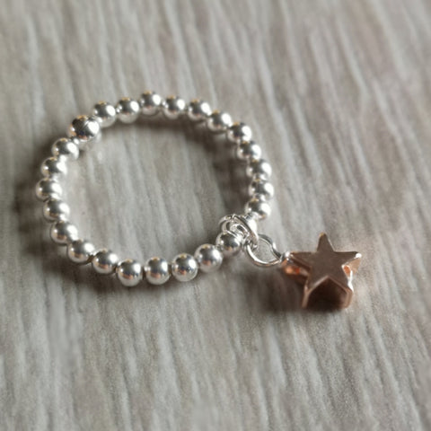 Silver Plated Stacking Charm Rings