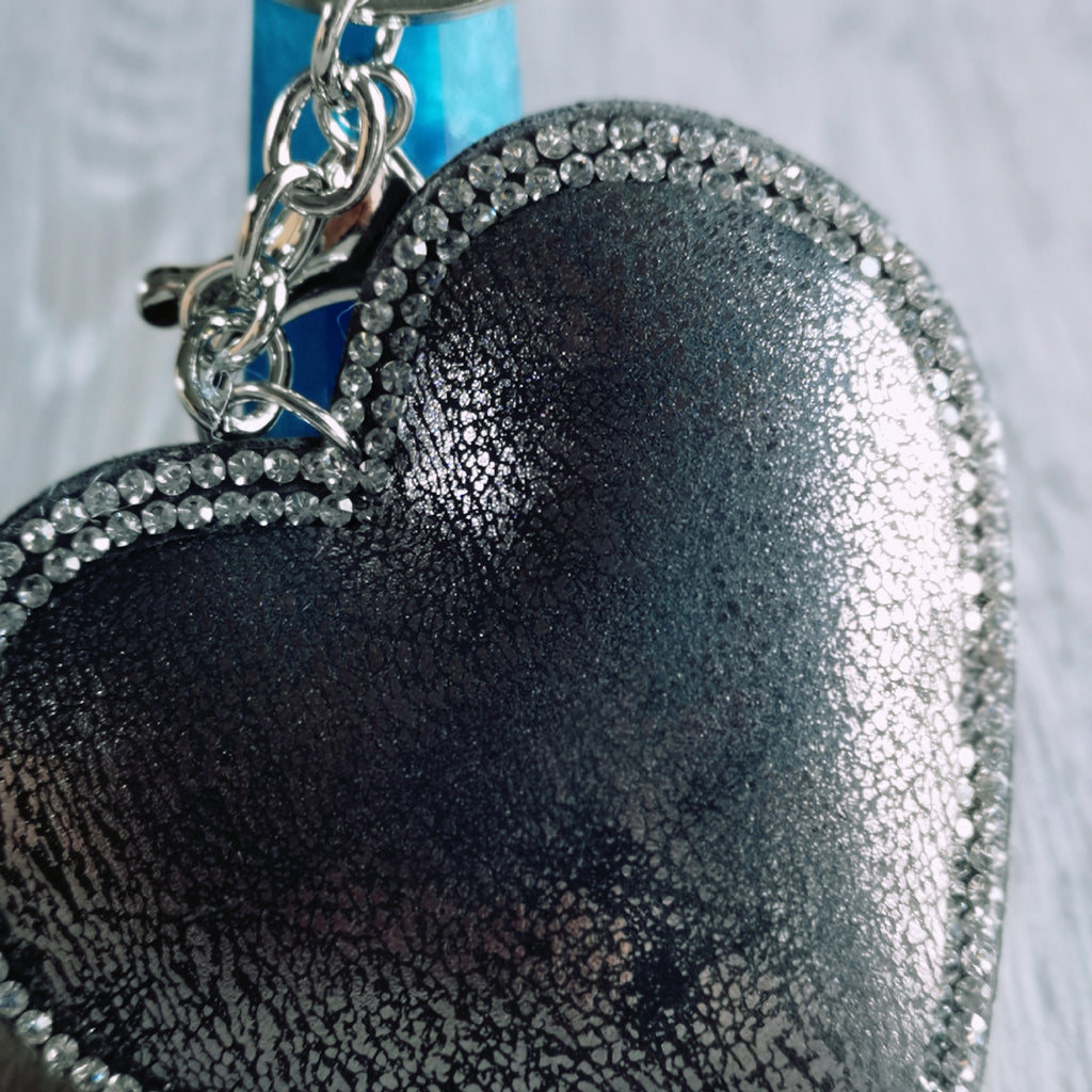 Charcoal Grey Heart Keyring