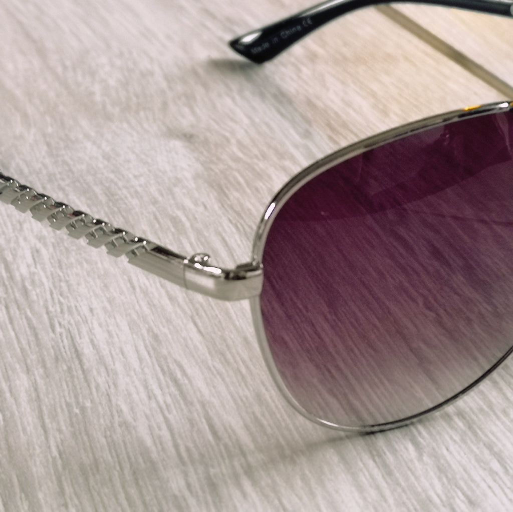Ruby Rocks Aviator Sunglasses Silver