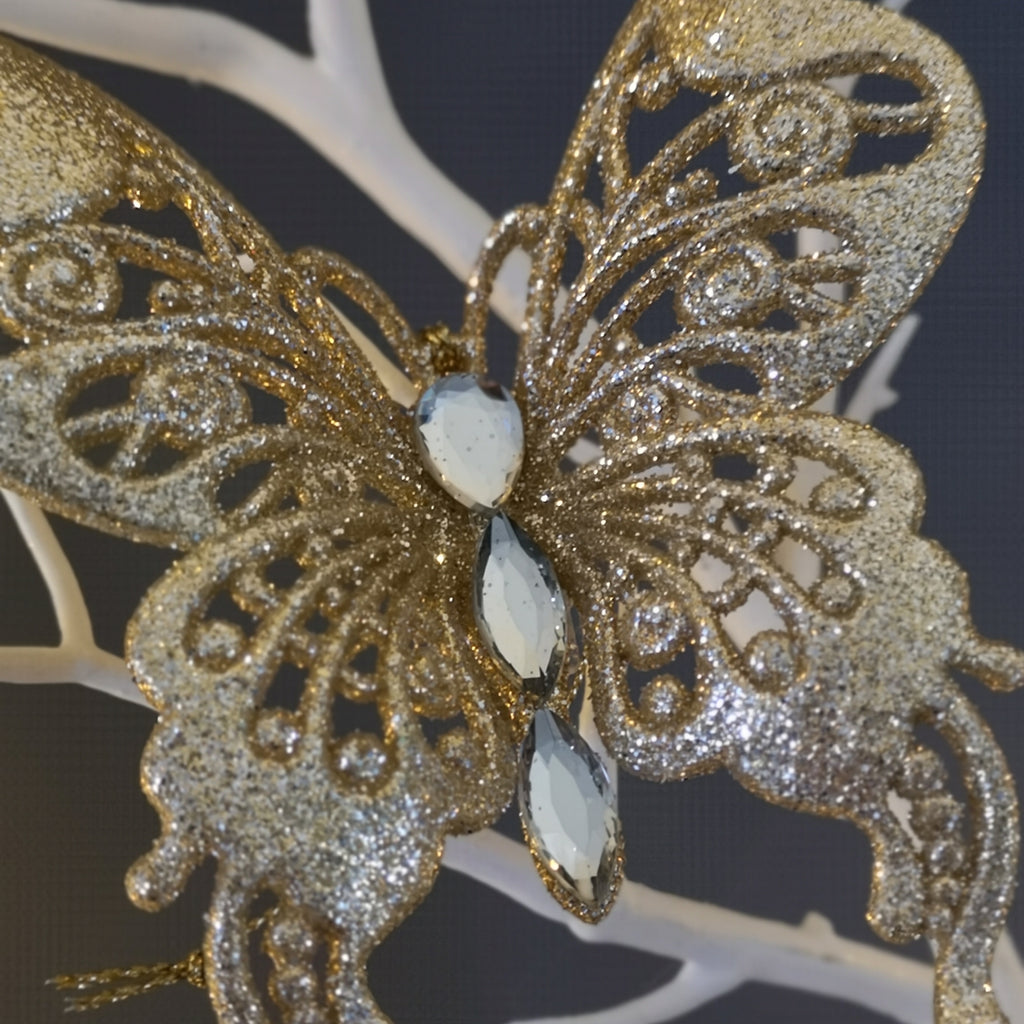 Gold Glitter Jewel Butterfly Wings Up