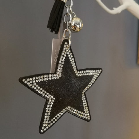 Black Faux Fur Star Keyring